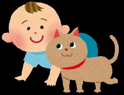 赤ちゃんのイラスト「猫とハイハイ」