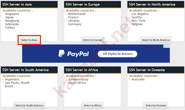 pilih lokasi ssh server di asia