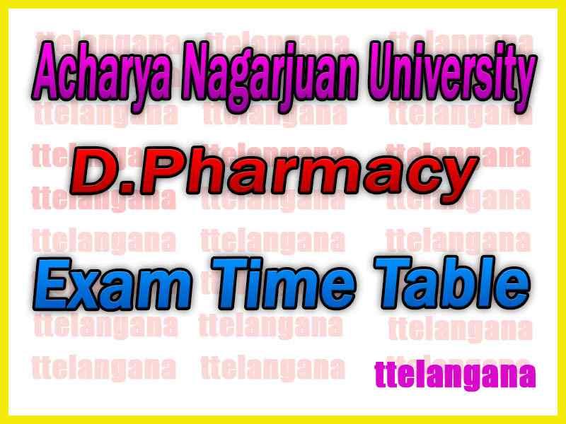 Acharya Nagarjuan University Pharm.D  Exam Time Table
