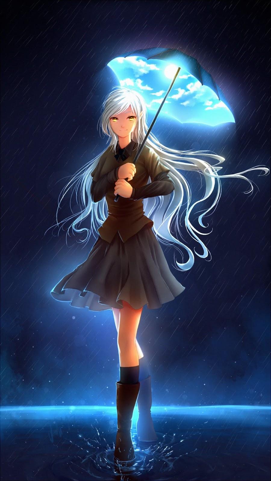 Anime girl with magical umbrella mobile wallpaper