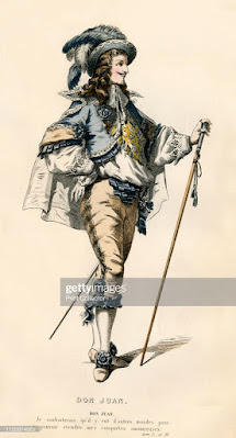 """Don Juan', 1868. The character of Don or Dom Juan in """"Dom Juan ou le Festin de pierre"""" (Dom Juan or The Feast with the Statue), a play by Jean Baptiste de Molière, first staged in 1665. From """"Oeuvres Complètes De Molière"""", (Complete Works of Molière), with an introduction by Jules Janin. [F. de P. Mellado, Paris, 1868]. Artist Unknown. (Photo by The Print Collector/Heritage Images via Getty Images)"""