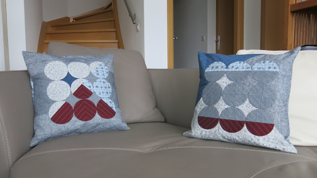 Luna Lovequilts - Quilted cushions / pillows - Combining circles, Carolyn Friedlander prints, Oakshott fabrics and Essex Linen