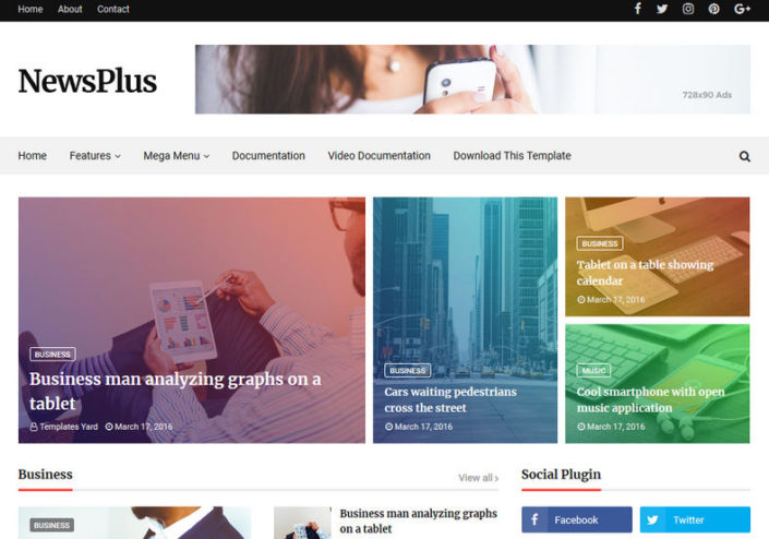 Newsplus Blog Magazine Blogger Template Free Download 2020
