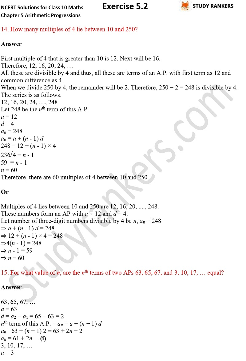 NCERT Solutions for Class 10 Maths Chapter 5 Arithmetic Progressions Exercise 5.2 Part 11