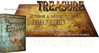 3-D book of Treasure of Egypt on golden treasure map created by Barbara Ivie Green