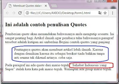 penulisan quotes dalam html
