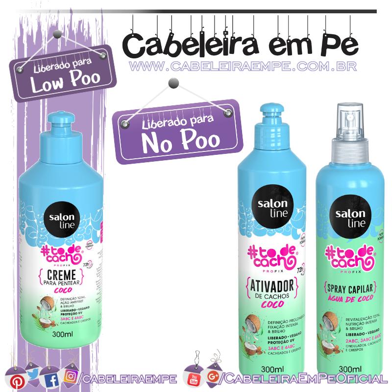 Creme para Pentear (Liberado para Low Poo), Ativador de Cachos e Spray Capilar (Liberados para No Poo) #todecacho Coco - Salon Line