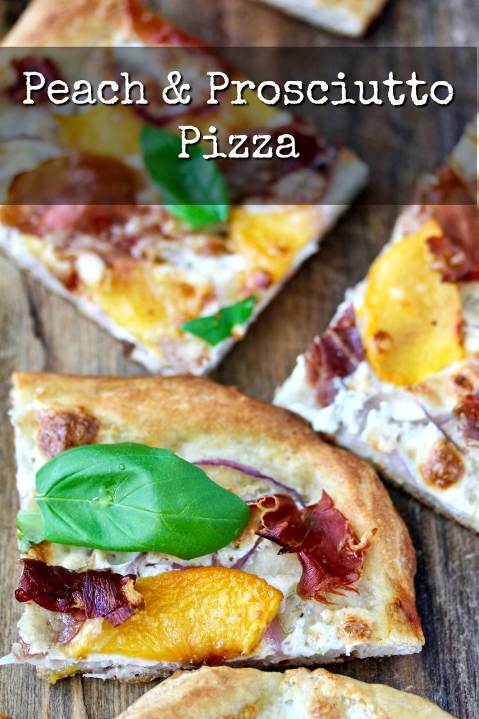 Peach and Prosciutto Pizza with basil