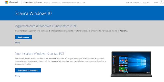 Sito Microsoft dove scaricare lo strumento per installare o ripristinare Windows 10