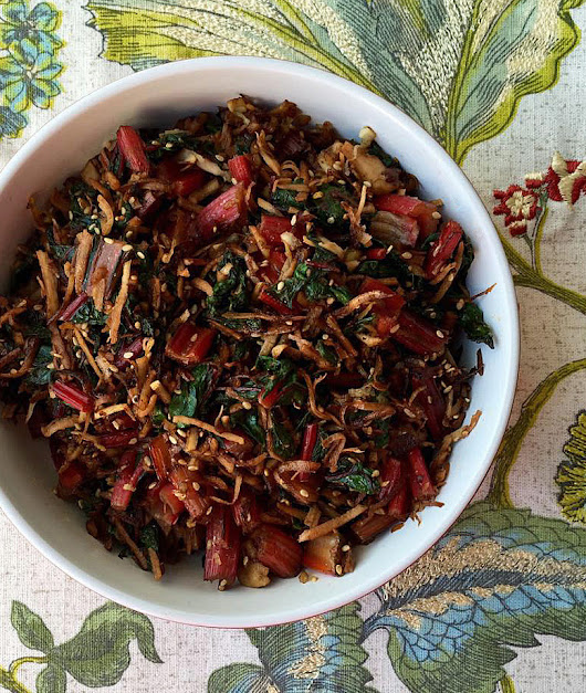 Asian-Style Swiss Chard Stir-Fry with Toasted Young Coconut