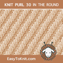 Steep Diagonal Rib stitch, easy to knit in the round