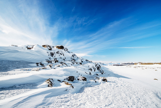 Snowy landscapes while dog sledding in Iceland