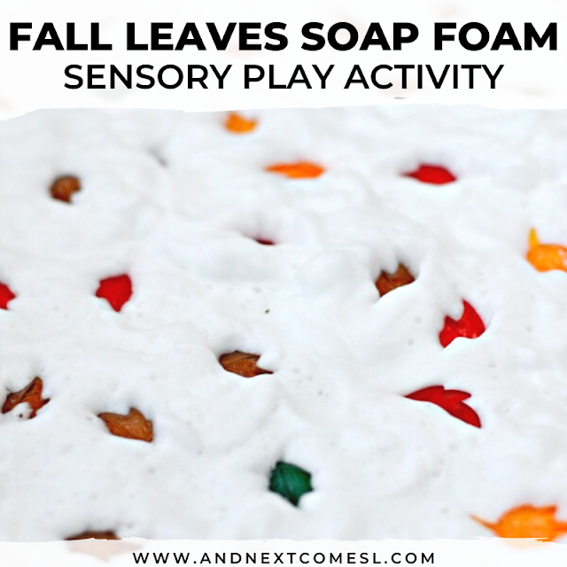 Looking for autumn messy play ideas? Try this fall sensory bin with soap foam which is probably the cleanest messy fun they'll have!