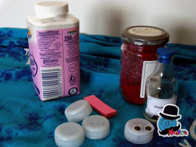 riciclo bottiglia tetra pak del latte con i bambini