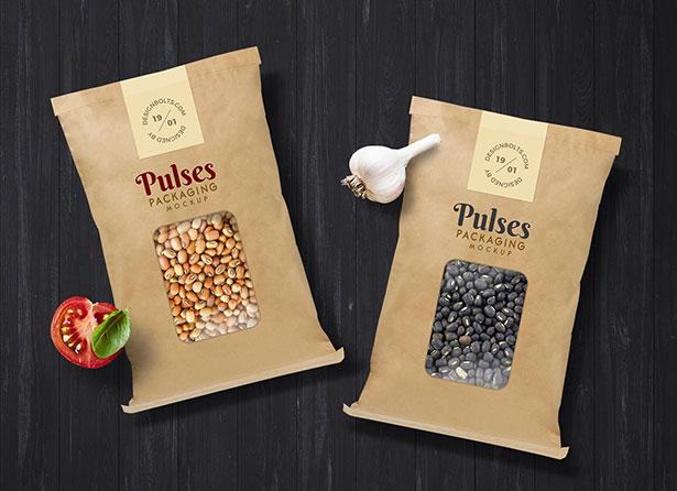 Gratis Mockup Packaging/Kemasan PSD 2018 - Pulses Kraft Paper Pouch Packaging Mockup PSD