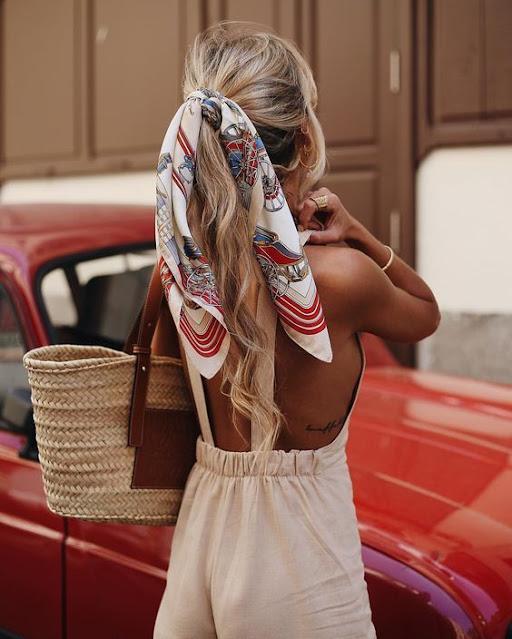 Peinados con bandanas coleta alta