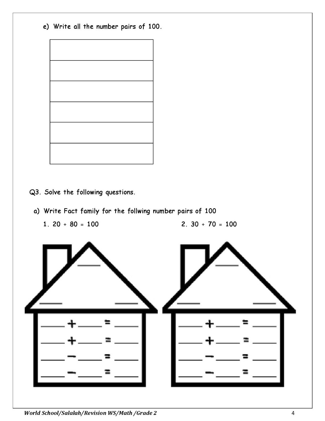 Birla World School Oman Revision Worksheet For Grade 2 As