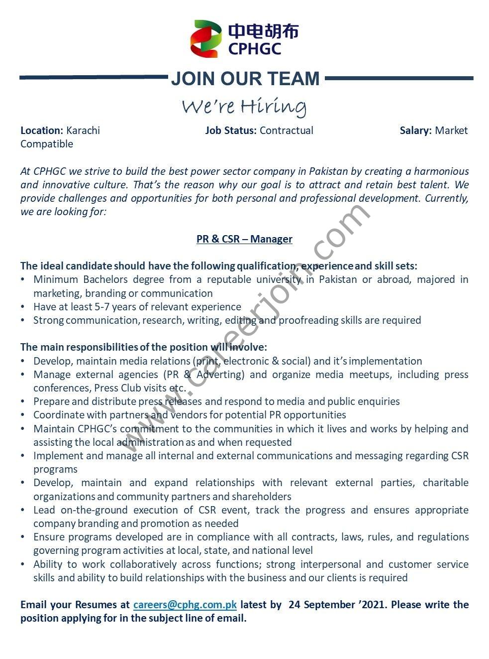 China Power Hub Generation Company Ltd CPHGC Jobs PR& CSR Manager