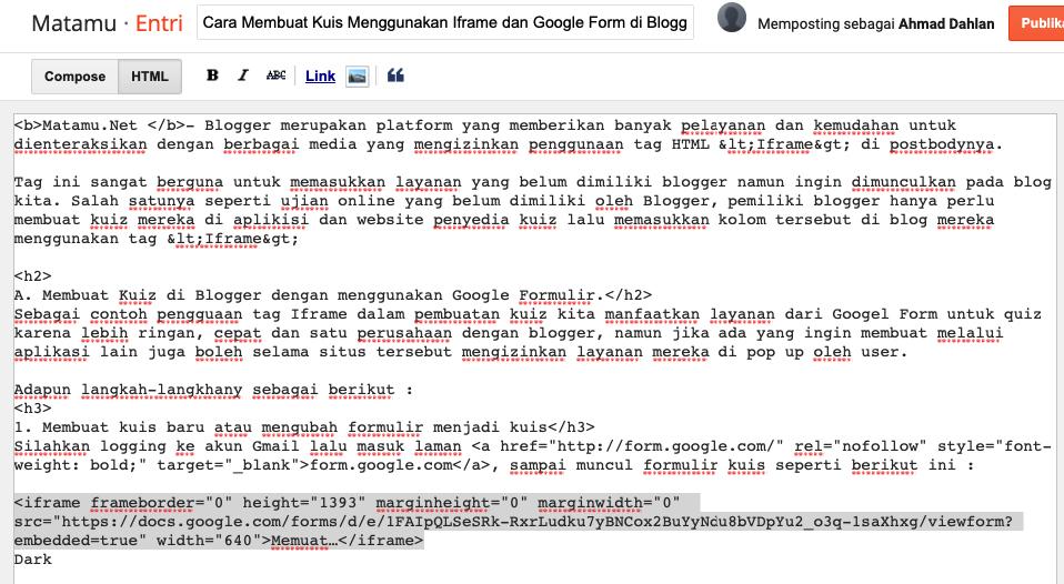 Membuat Quiz dengan Formulir online google dengan code Iframe