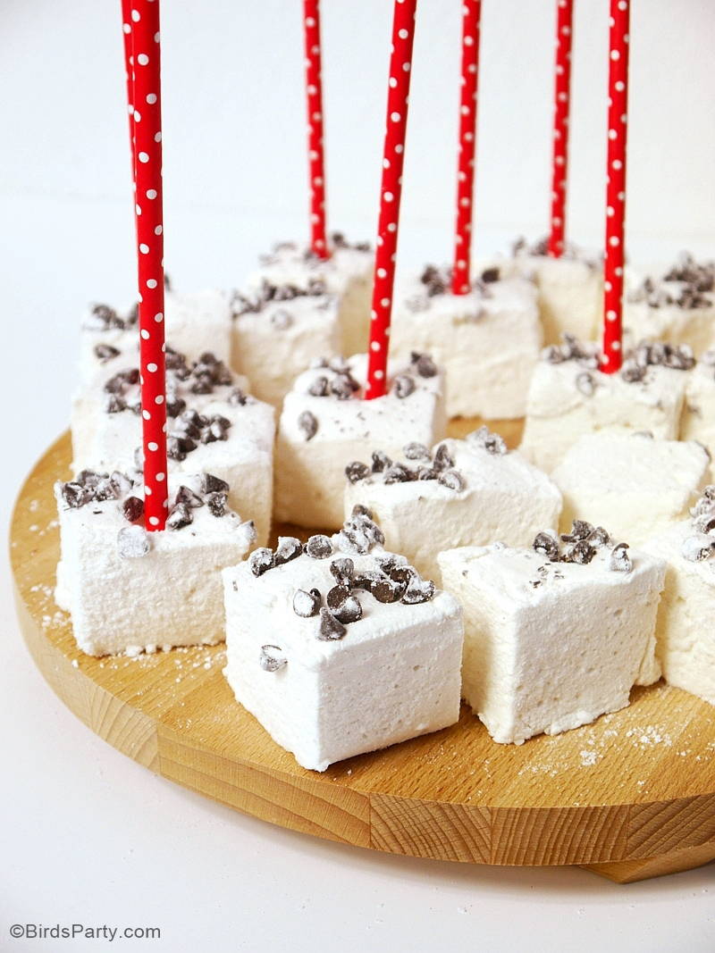 Step-by-step instructions and 3 ingredients recipe on How to Make Homemade Marshmallows for your party, desserts or celebration favors! | BirdsParty.com