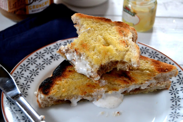 toastie that tastes like lemon meringue pie filled with biscuit spread, lemon curd and marshmallow creme
