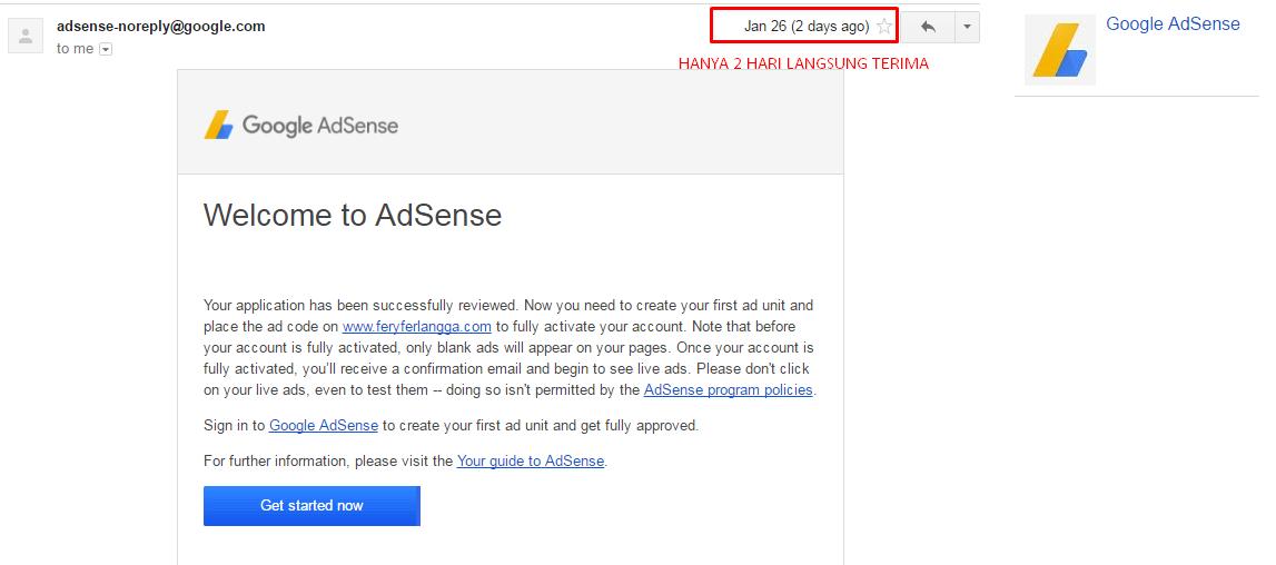 Hanya Butuh Waktu 2 Hari Verifikasi AdSense