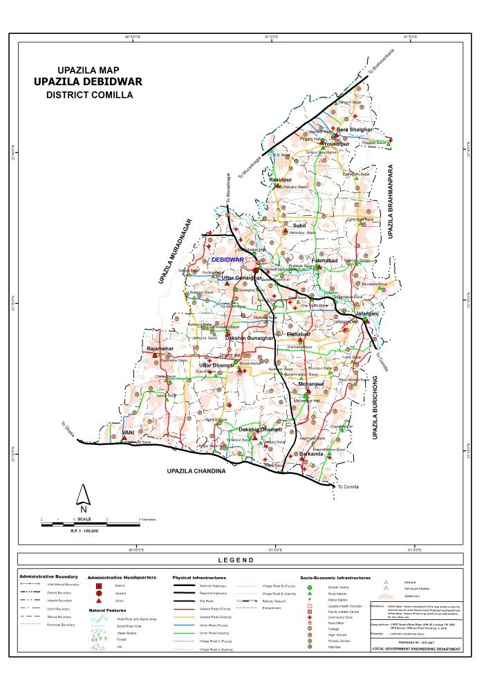 Debidwar Upazila Map Comilla District Bangladesh