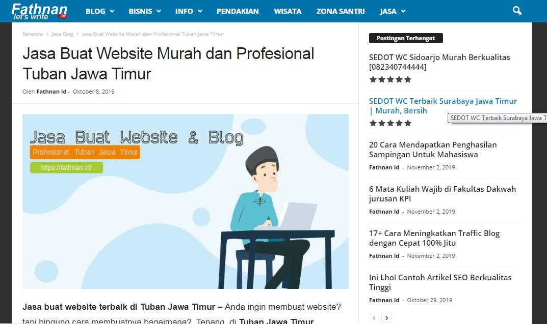 Jasa Pembuatan Blog/Website Murah Daerah Tuban Jawa Timur Fathnan.id