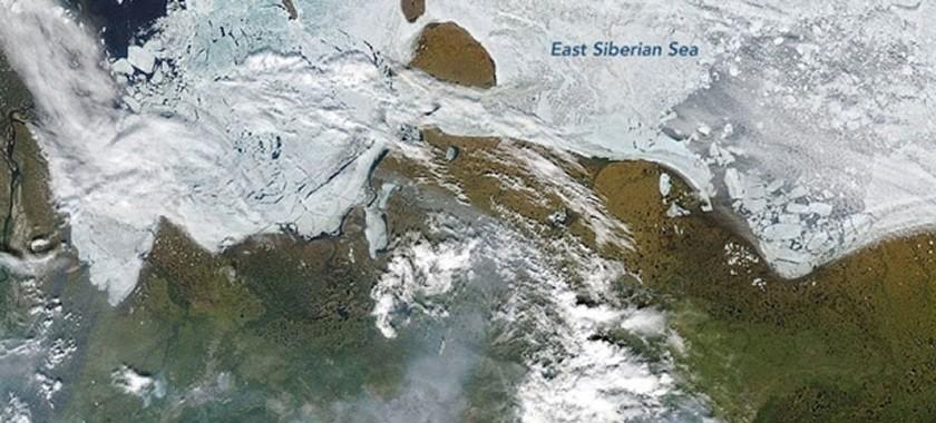 Satellite image of fires in Siberia.