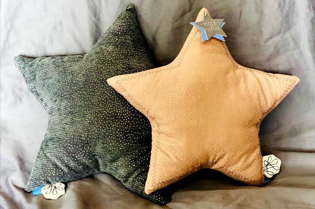 Picca LouLou star cushions in grey and dusky pink received from luna and cash