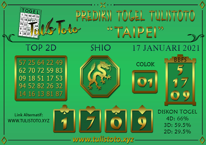 Prediksi Togel TAIPEI TULISTOTO 17 JANUARI 2021