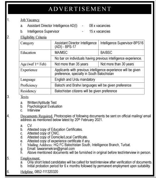 Latest Pak Army Intelligence Branch Frontier Corps Jobs 2021