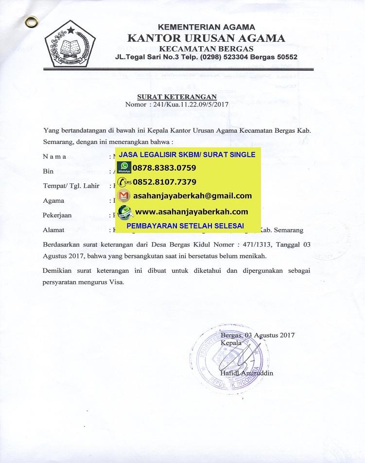Surat Pernyataan Belum Menikah Untuk Kua   Surat Contoh