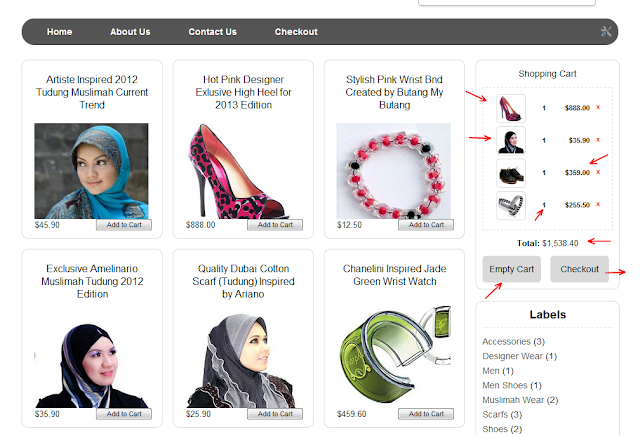 Tutorial pemasangan lengkap tema blogger e-commerce percumaa shopping cart-my