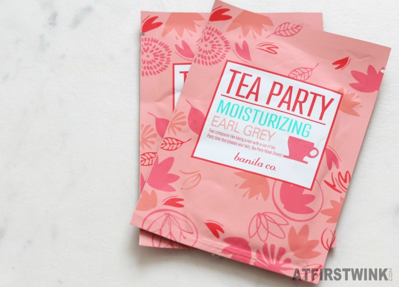 banila co. tea party moisturizing earl grey sheet masks