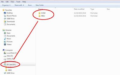 Setelah SD Card terbaca muncul 2 folder yaitu DCIM dan MSC