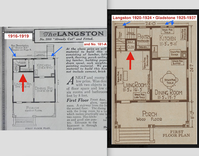 comparison of floorplans over the life of the Sears Langston and early Sears Gladstone