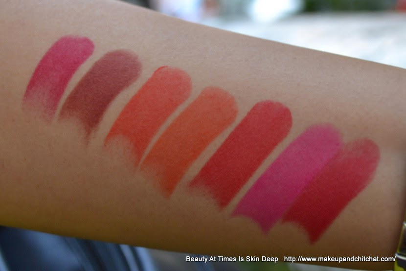 Lakme Absolute Sculpt Studio Hi-definition Matte Lipstick Swatches in the day light