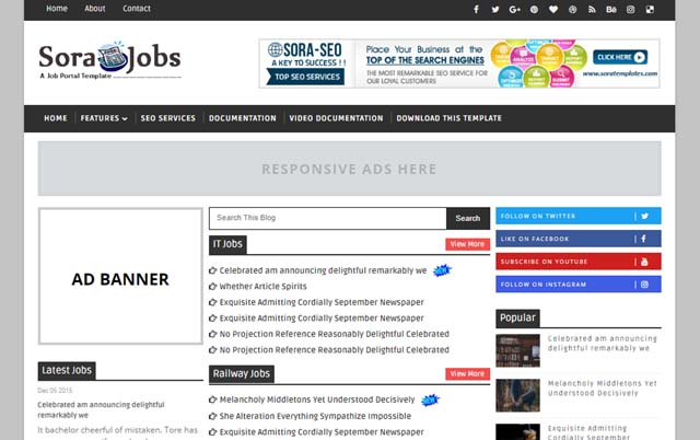 Best free Blogger templates for Job websites