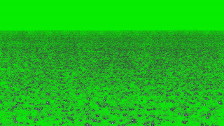 A photo of animated water drops and slashes on a green background.