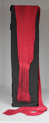 18th century red silk officer's sash, conservation, historic garments, textile conservator Gwen Spicer of Spicer Art Conservaton, Military artifacts, collectibles, antiques, display, restoration, repair, preservation
