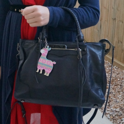Rebecca Minkoff Regan Satchel Tote in moon with llama printed bag charm | away from the blue