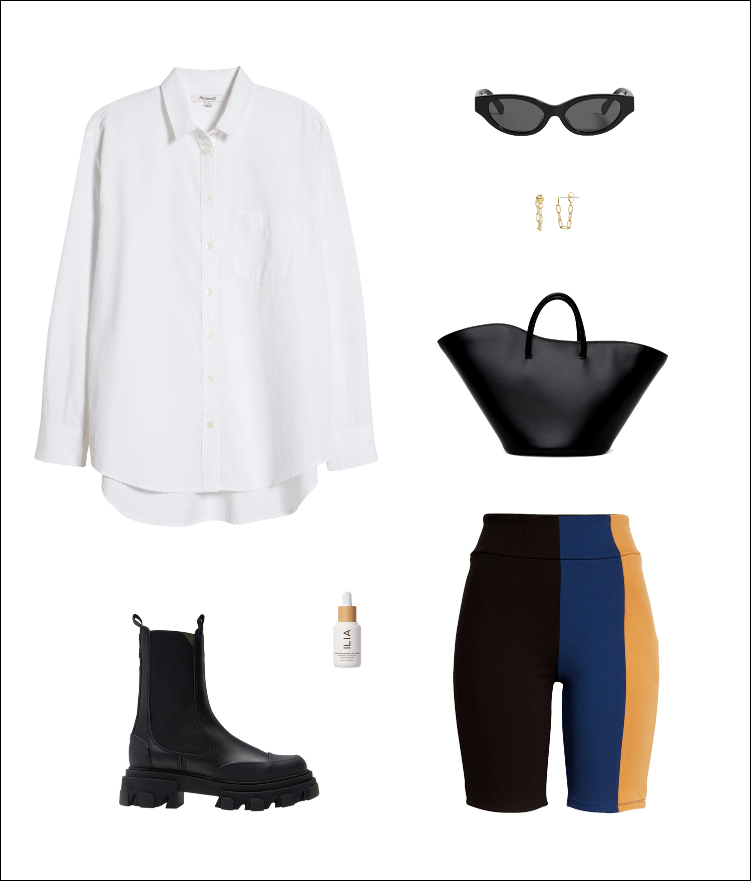 Spring Outfit Idea Trends —under-$ 100 white button-down shirt, black sunglasses, chain hoop earrings, Little Liffner tote bag, Staud color block biker shorts, Ilia skin tint, Ganni lug-sole boots