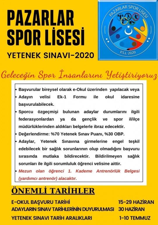 PAZARLAR SPOR LİSESİ YETENEK SINAVI 2020-2021