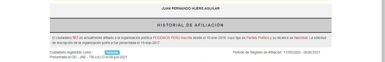 Captura del ROP sobre situación de Fernando Huere