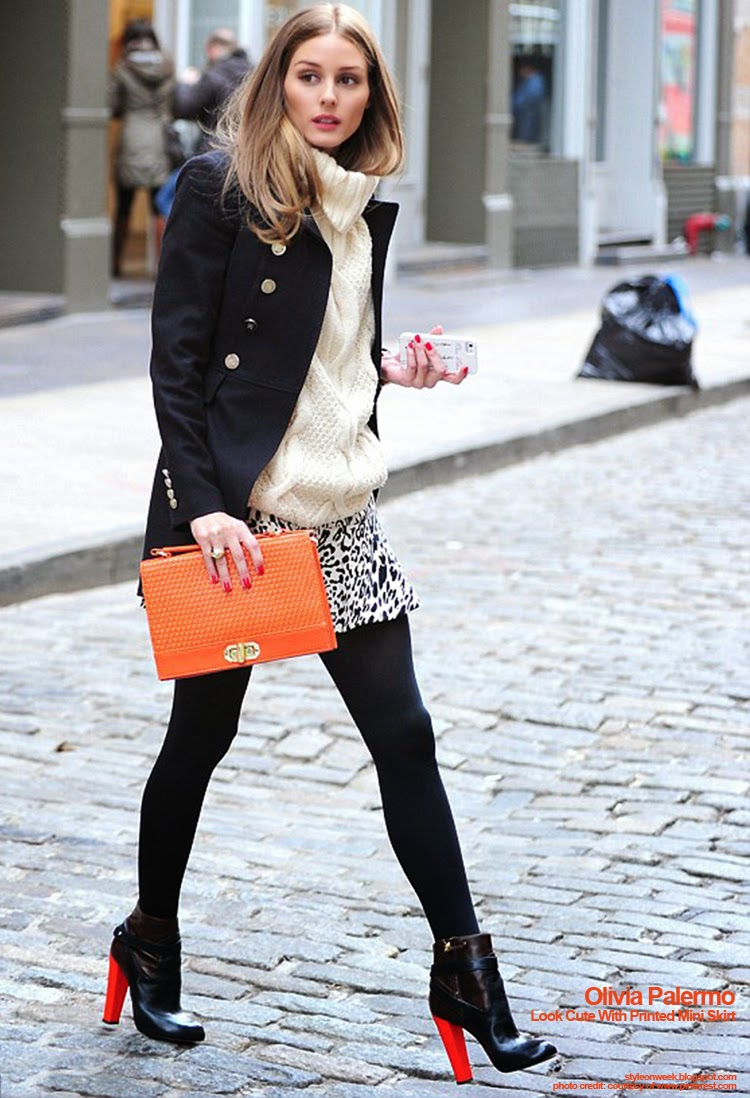 Celebrity Street Style - Olivia Palermo Look Cute With Printed Mini Skirt