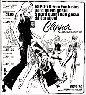 Lojas Clipper, moda anos 70,  propaganda anos 70; história da década de 70; reclames anos 70; brazil in the 70s; Oswaldo Hernandez