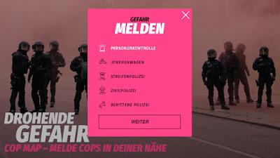 Screenshot der Eingabeseite von COP MAP
