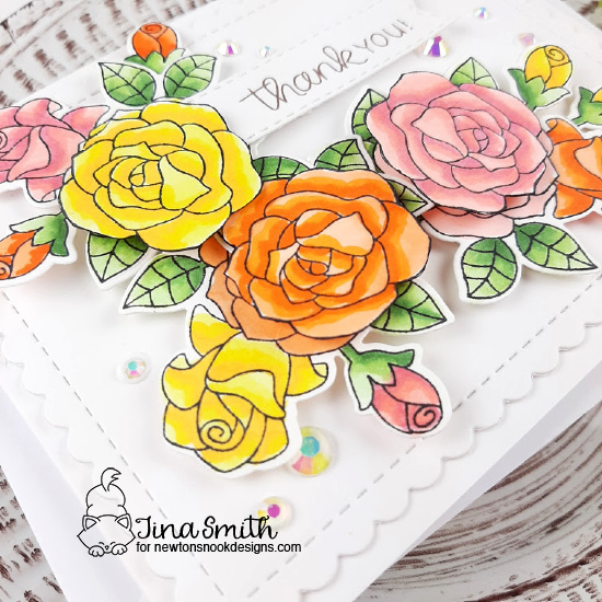 Beautiful Roses Thank You Card by Tina Smith | Roses Stamp Set, Banner Trio Die Set and Frames & Flags Die Set by Newton's Nook Designs #newtonsnook #handmade