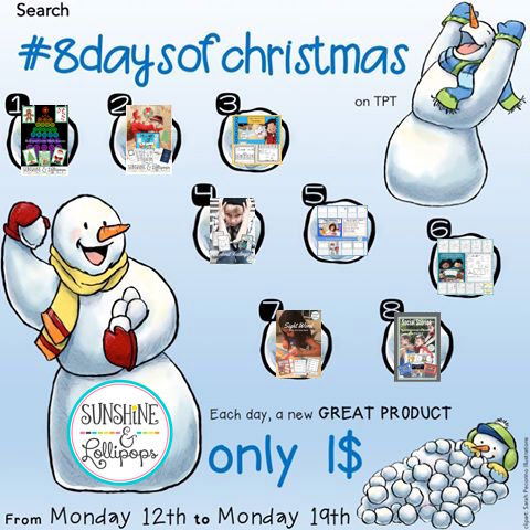 Just search #8daysofchristmas in the TpT search bar and take a look at all the Frosty Dollar Deals offered by so many great TpT authors.  If you want to see the deals i have picked especially for you, then click here...you will love the variety and the savings.  Have a great winter break and a Happy 2017!